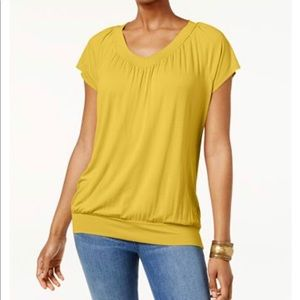 JM Collection Tee L Yellow Banded Hem Cap Sleeve